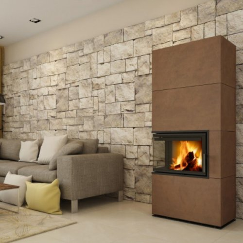 HEIN SOLID L керамика - изразцовая камин-печь с цельногнутым угловым стеклом слева