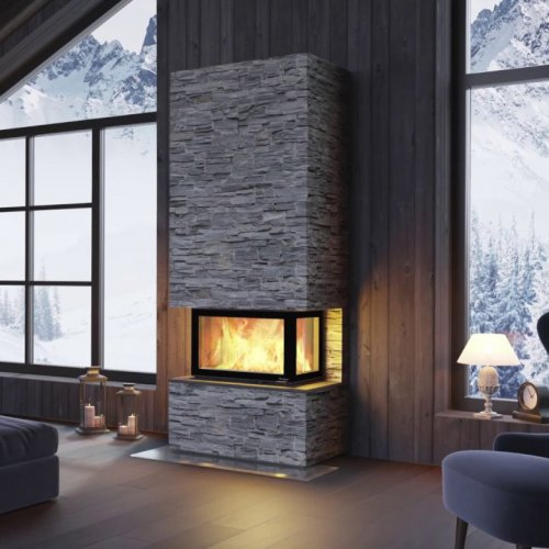 Davos U Stone высокий - трехсторонний камин с отделкой из натурального камня