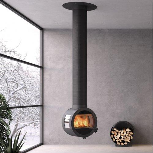 Me Ceiling - стильная печка с боковыми стеклами для крепления к потолку