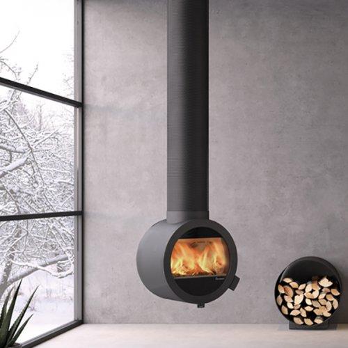 Me Ceiling - подвесной камин с круглым стеклом