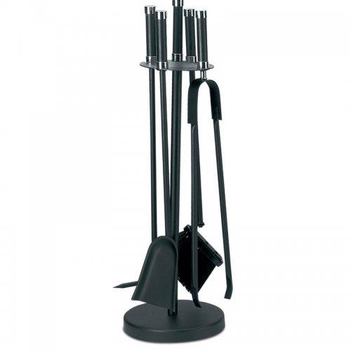 арт. 50.511C (черный+хром) - напольный комплект приборов для ухода за камином