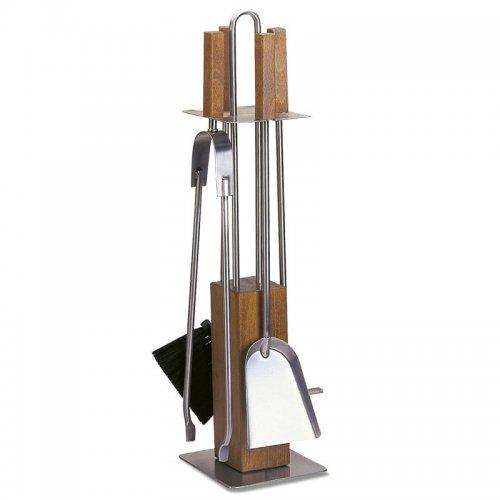 арт. 90.942L (хром+дерево) - серебристый набор с ручками из дерева