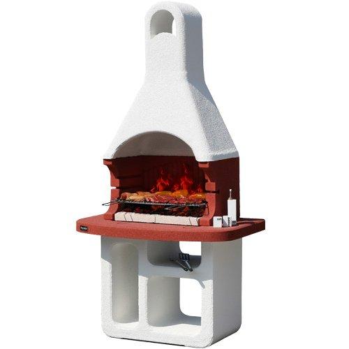 KORSIKA/SMIRNE - уличная печь с увеличенной столешницей красного цвета