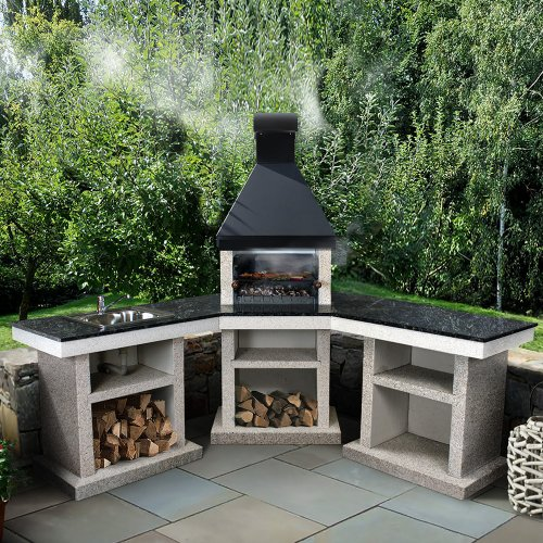 Anora+стол+мойка (L) - барбекю с угловым жарочным модулем