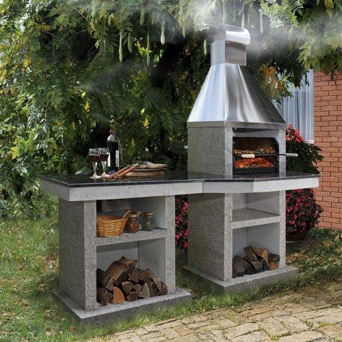 Тiana+стол (L) - барбекю с приставным столом из камня