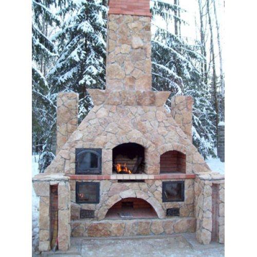Стильная печь с облицовкой из натурального камня