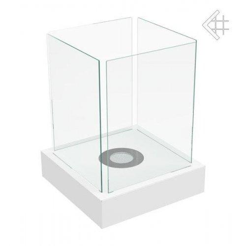 TANGO 4 белый - биокамин с квадратным корпусом из стекла