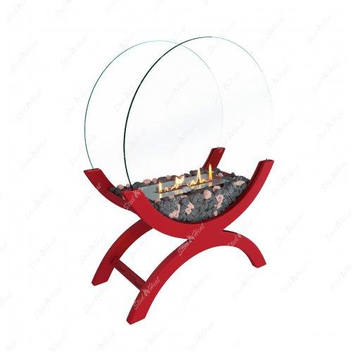 WOOD 600 красный - декоративный камин с биотопкой
