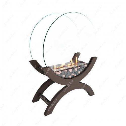 WOOD 500 коричневый - деревянный биокамин с красивым пламенем
