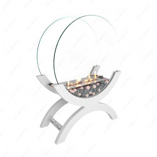 WOOD 500 белый - светлый декоративный камин со стеклом