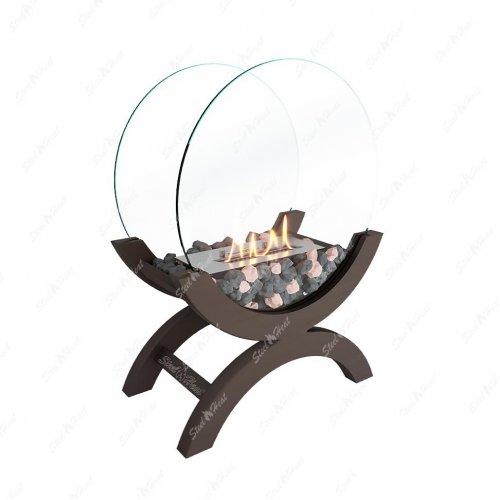 WOOD 400 коричневый - переносной декоративный камин со стеклом