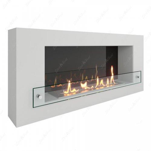 Wall 900 белый - биокамин с красивым натуральным огнем