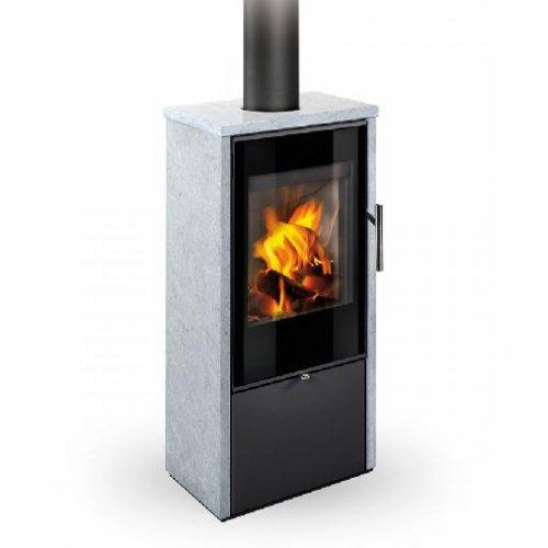 Romotop LAREDO F камень - отдельностоящая мощная печка из стали и камня