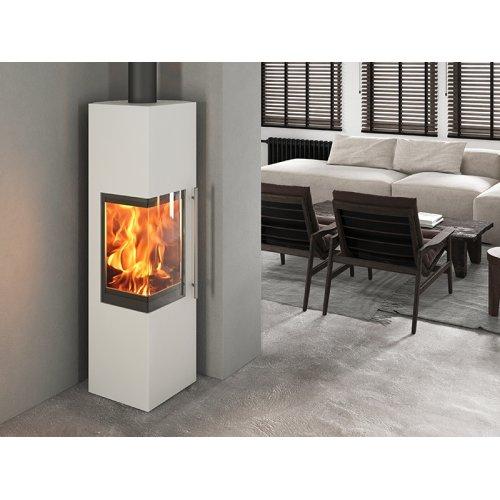 Стеван 700 XL white - Угловая каминная печка с дровяной камерой