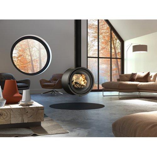 Odin Tunnel - подвесной камин-печь со сквозным круглым стеклом