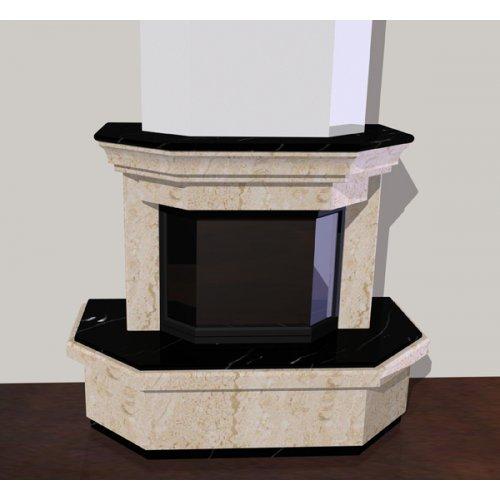 Пристенный камин из камня, призматическая форма