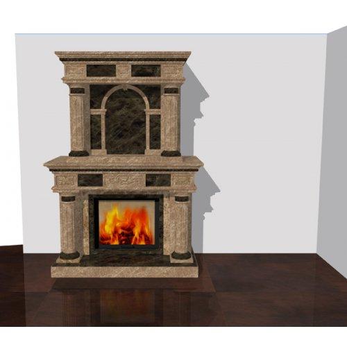 Двухуровневый камин в стиле модерн, двухцветный
