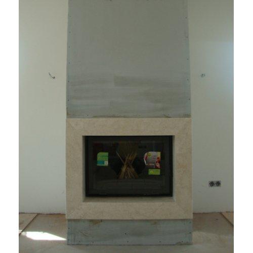 Пристенная установка, прямой фасад, рамка из гладкого мрамора