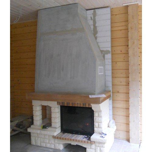 Стиль кантри, пристенная установка, отсек для дров
