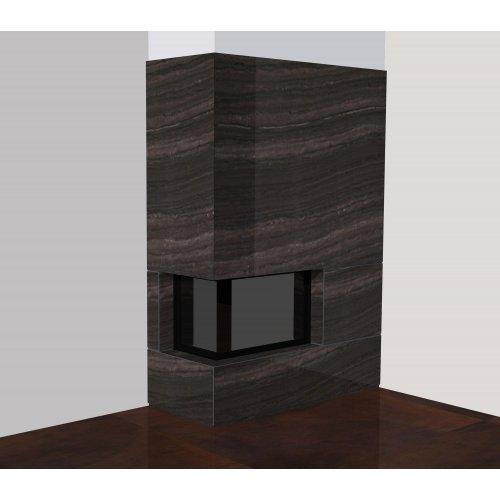 Пристенно-угловой вариант дровяного камина, мрамор