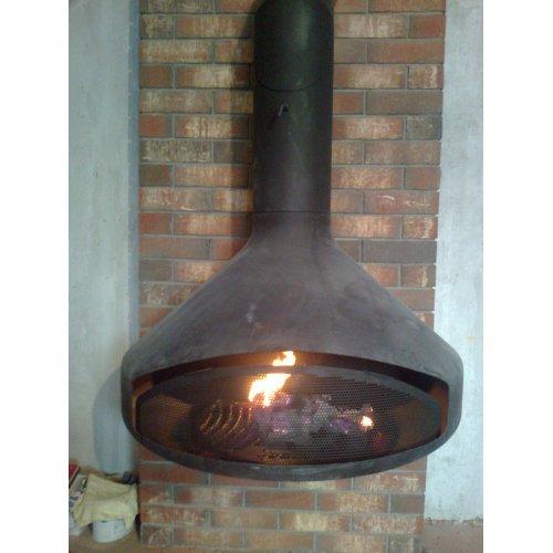 Настенный камин из стали, очаг с защитной сеткой