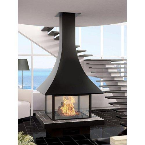 Julietta 985 centrale vitree - Центральностоящий камин, круговой вид огня