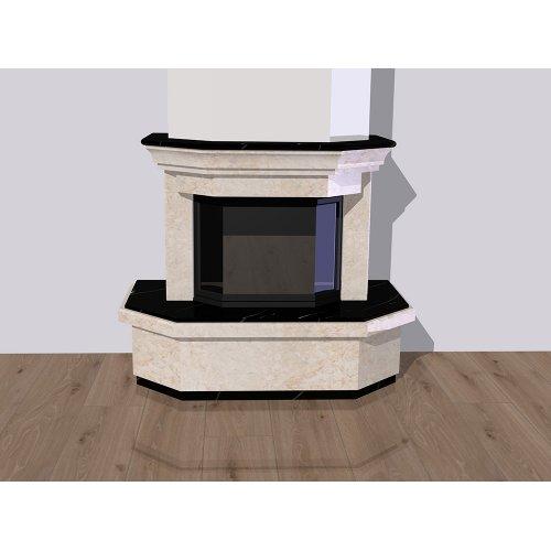Фронтальный каминный портал из мрамора двух видов