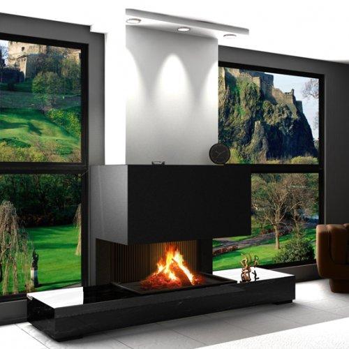 Heath (Хисз) - Пристенный камин с трехсторонним обзором на огонь