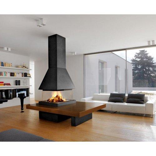 OLDEN - Центральный камин с четырехсторонним стеклом