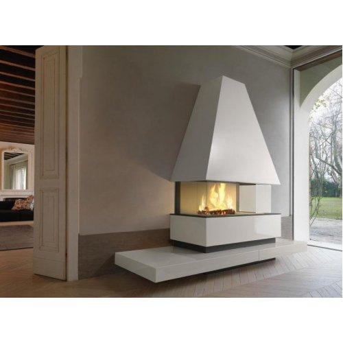 GOTEBORG - Пристенный камин из стали и майолики в стиле хай-тек