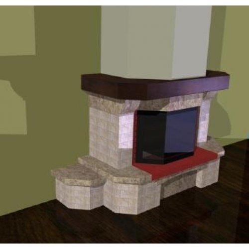 Проект 6 пристенная каминная облицовка с призматичным стеклом