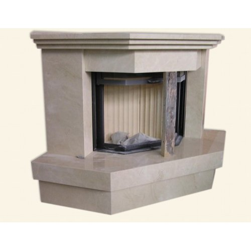 угловой дровяной камин из белого мрамора