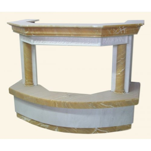 полукруглый пристенный каминный портал