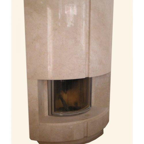 Вихрь вертикальный угловой камин выпуклой формы