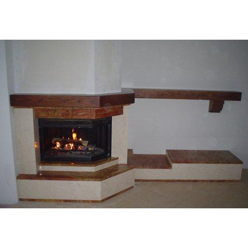 Техно 2-2 пристенно-угловой дровяной камин