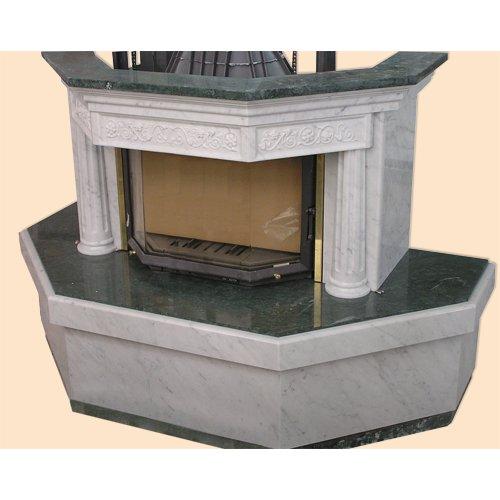 Флинт-2 дровяной камин из мрамора двух цветов