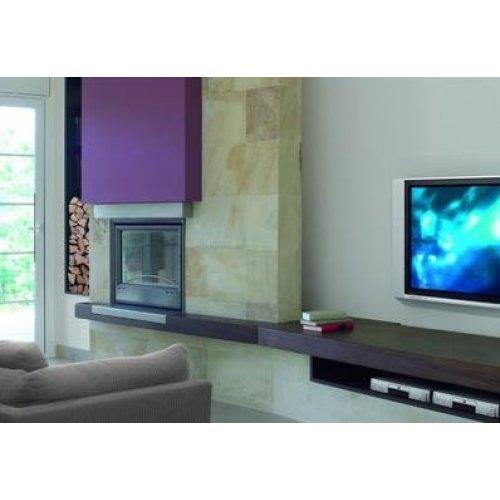 Kiera - Кира пристенный камин с элементами из нержавеющей стали