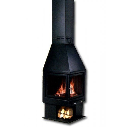 Mia 002 - Миа 002 металлический черный камин с дровницей