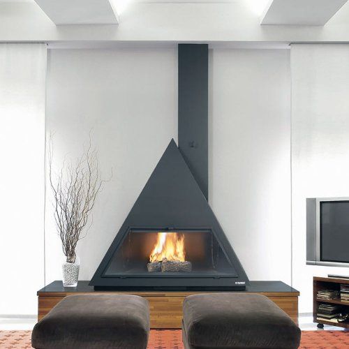 BILBAO - Фронтальный камин в виде подвесного треугольника