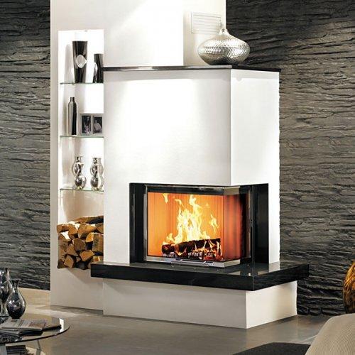 11/232 - Пристенно-угловой камин из мрамора белого и черного цвета