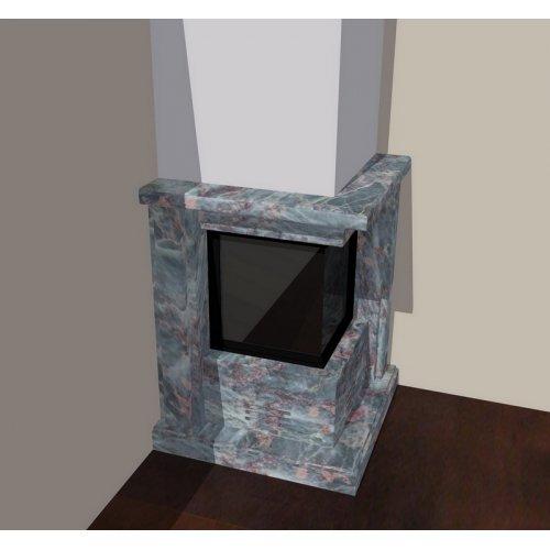 Эскиз-3 Саломе угловой камин с двухсторонним стеклом