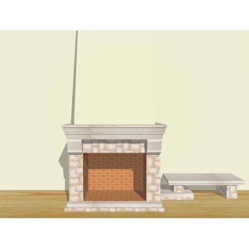 Пристенный открытый камин с боковой скамьей