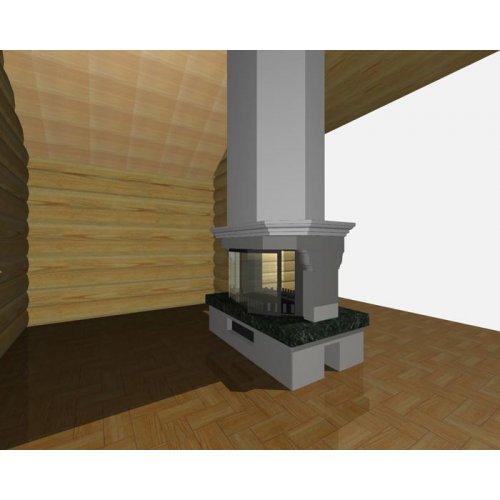 Двухсторонний камин из мрамора