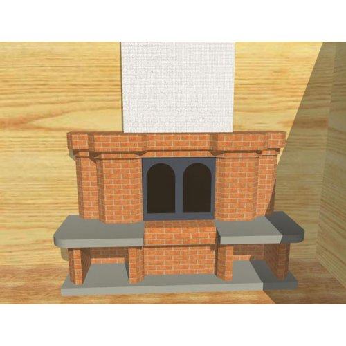 Кирпичная облицовка с двумя отсеками для дров