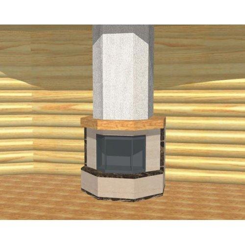 Каминный портал из мрамора с деревянной балкой, фронтальный