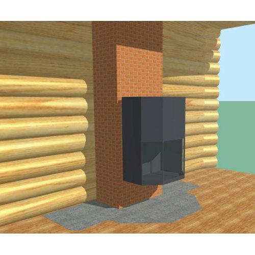 Стальной камин с кирпичным дымоходом
