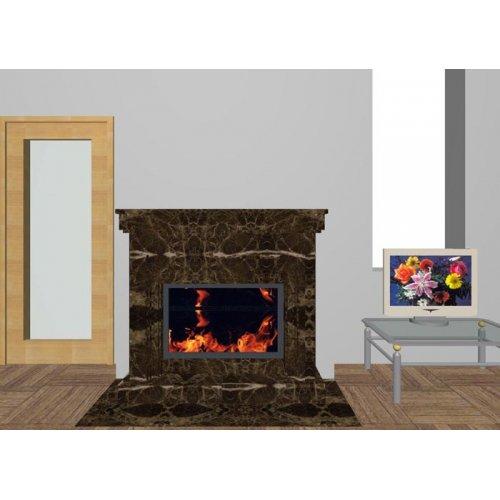 Дровяной камин в мраморном портале, коричневый