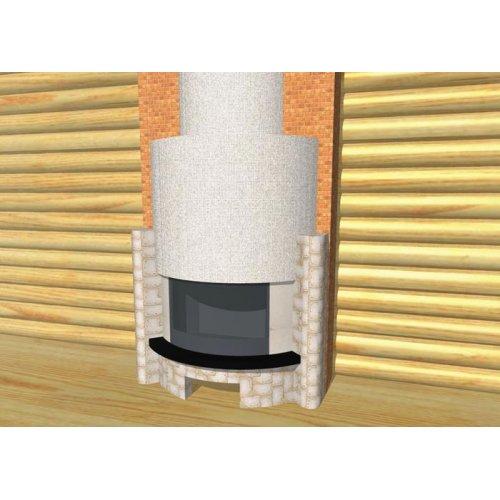 Камин фронтальный с полукруглым фасадом, дровница
