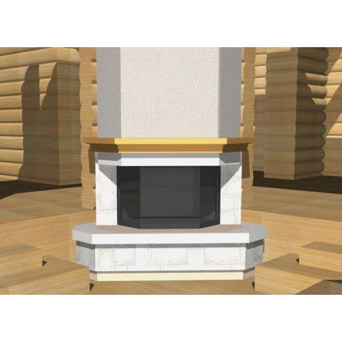 Облицовка с декоративной деревянной балкой