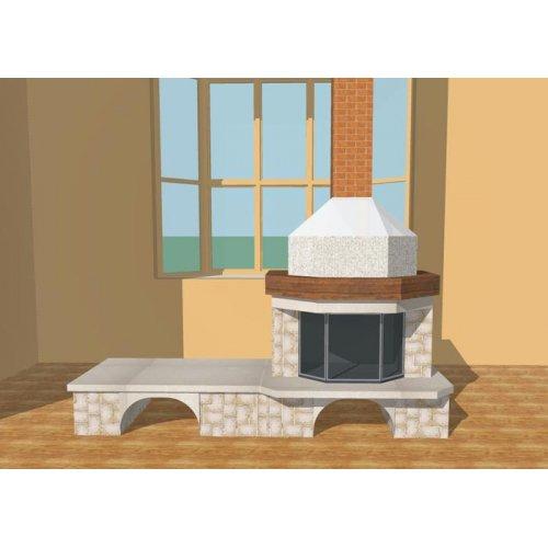 Фронтальный камин с двумя дровниками